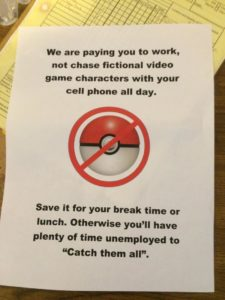 No Pokemon at Work